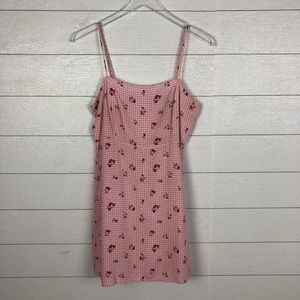 Forever 21 pink gingham and rose mini dress